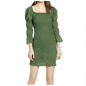 J.O.A. Green Smocked Puff Sleeve Fitted Mini Dress